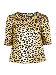 Biba BIba gold stitch detail real suede top