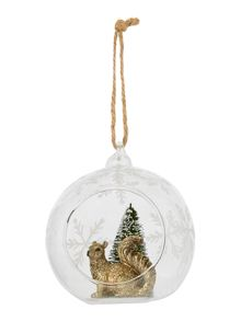 Linea Squirrel in open glass bauble