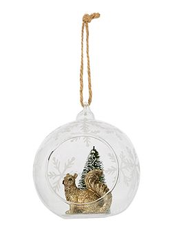 Squirrel in open glass bauble