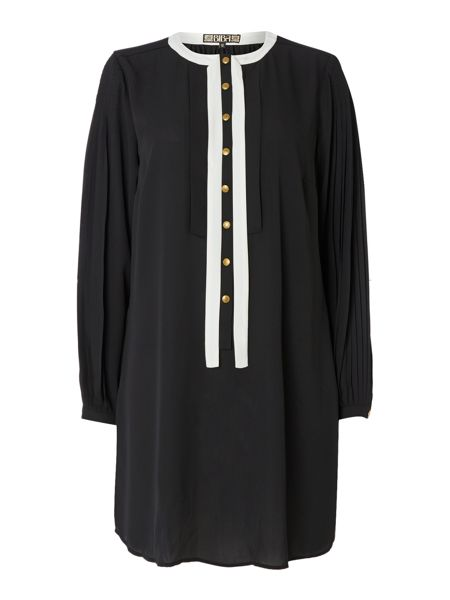 Biba Pleat detail tie neck tunic