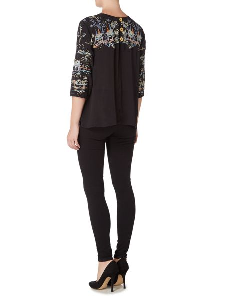 Biba Oriental embroidered button back blouse