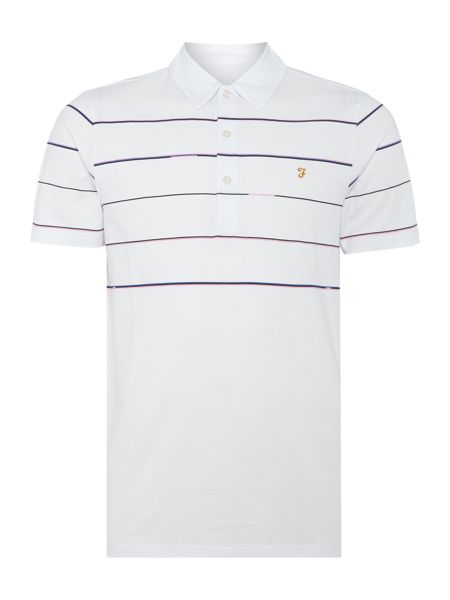 Farah Beckton regular fit fine chect stripe polo shirt