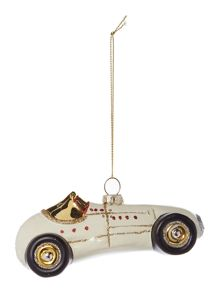 Linea Retro racing car in cream decoration