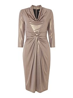 Cowl neck long sleeve metallic jersey dress