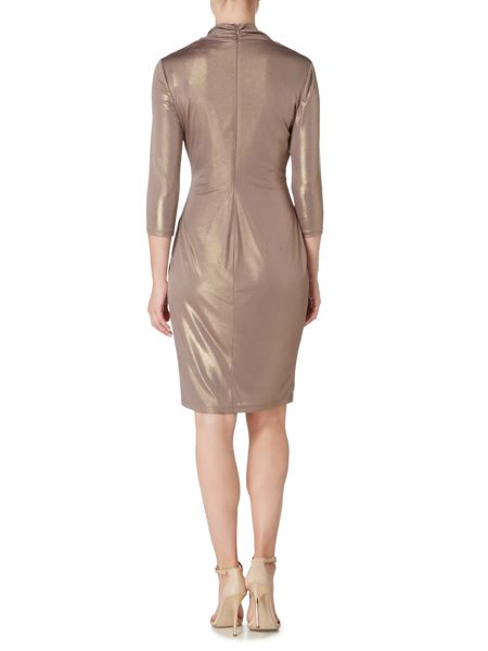 Biba Cowl neck long sleeve metallic jersey dress