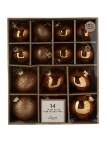 Linea Set of 14 Luxe mercury gold glass baubles