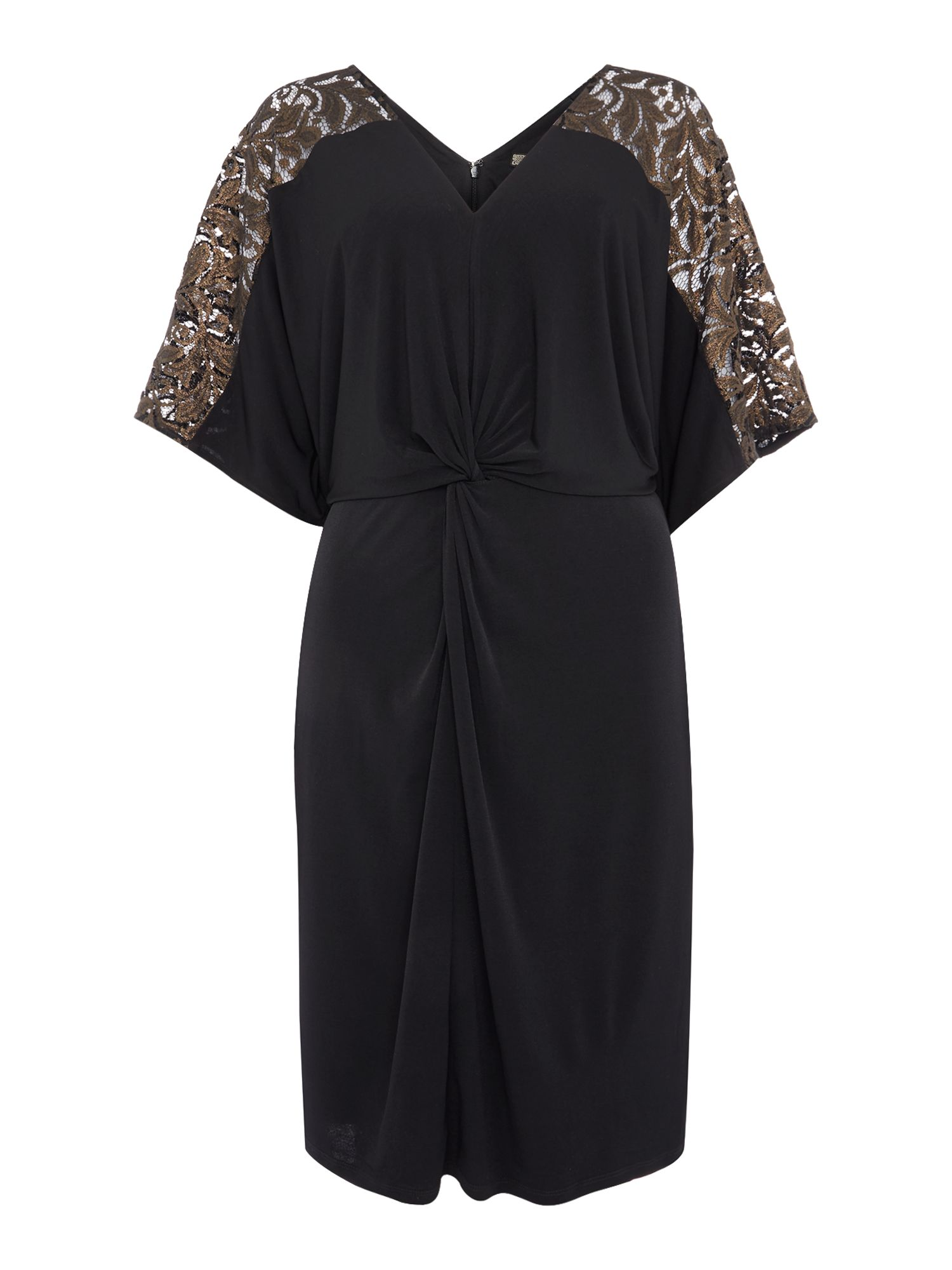 Biba Lace panel knot front jersey dress, Black