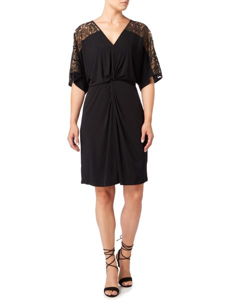 Biba Lace panel knot front jersey dress