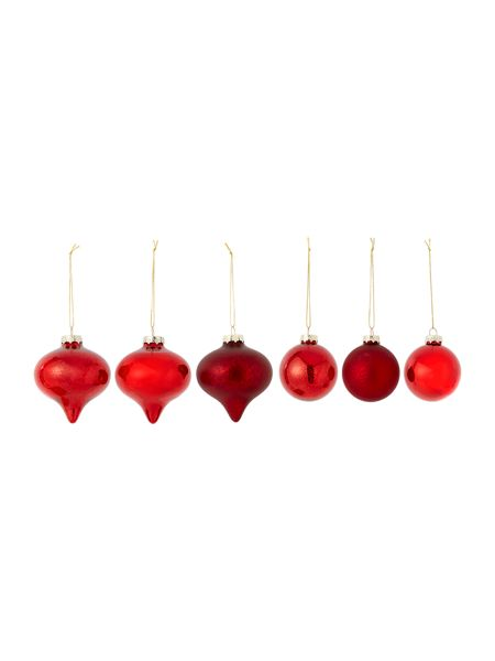 Linea Set of 14 Luxe mercury red glass baubles