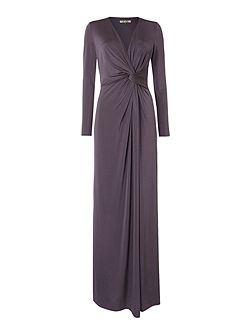 Long sleeve knot detail event maxi dress