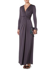 Biba Long sleeve knot detail event maxi dress
