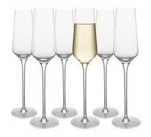 Linea Sienna crystal champagne flute glass set of 6
