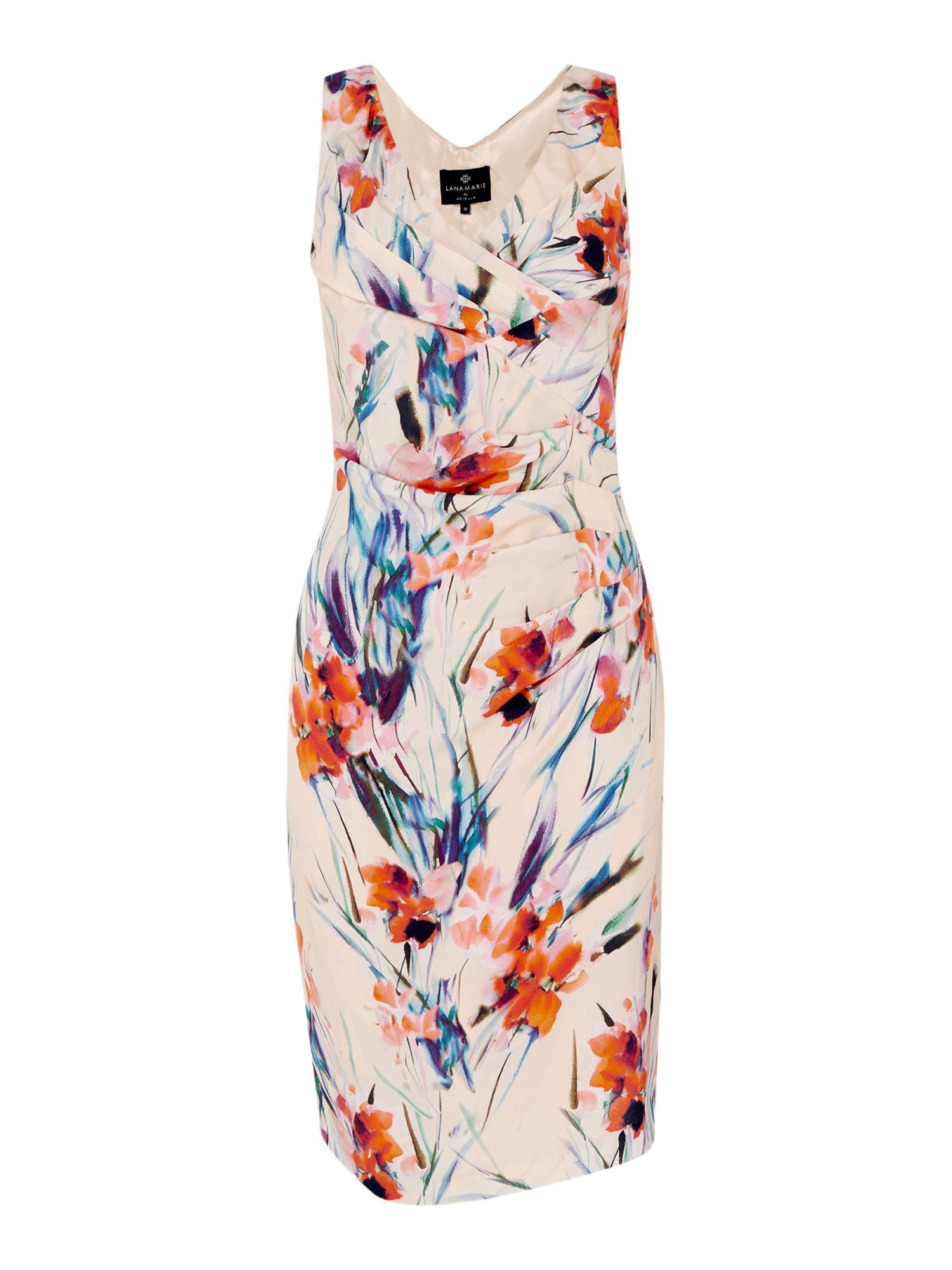 Ariella V neck wrap dress, Graphic Floral Print