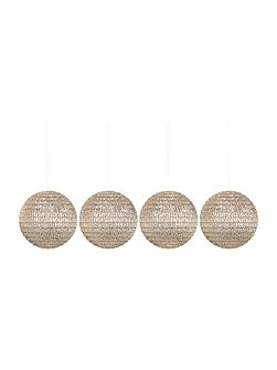 Set of 4 champagne disco baubles