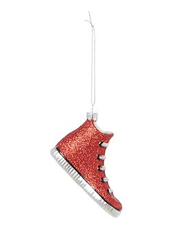 Red glitter trainer tree decoration