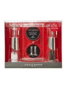 Cole & Mason Bobbi salt & pepper precision gift set with tray