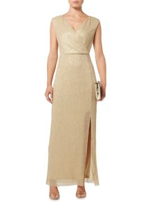 Biba Metallic wrap detail maxi event dress