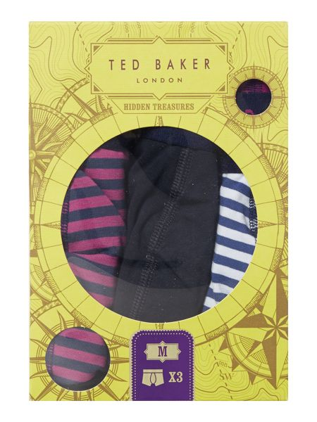 Ted Baker Danger 3 Pack Stripe and Plain Trunks