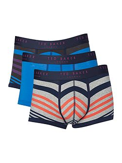 Gatwick 3 Pack Varied Stripe and Plain Trunks