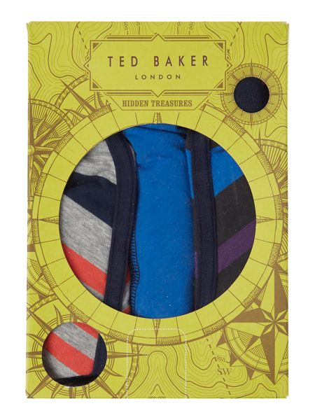 Ted Baker Gatwick 3 Pack Varied Stripe and Plain Trunks
