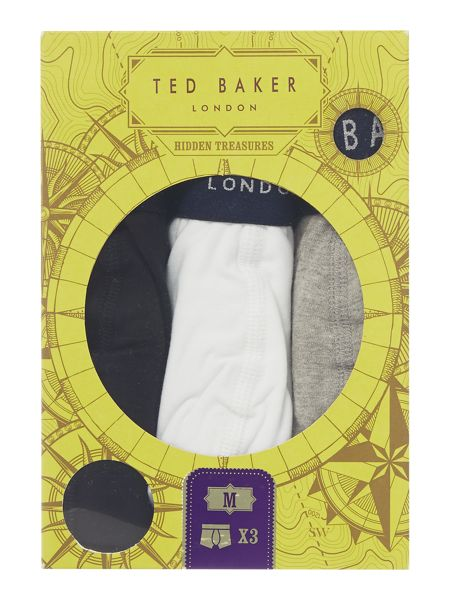 Ted Baker Davinci 3 Pack Multi Contrast Waistband Trunks