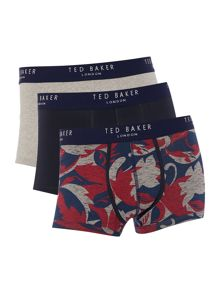 Ted Baker Charger 3 Pack Floral And Plain Trunks