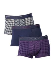 Ted Baker Aquariu 3 Pack Jacquard And Plain Trunks