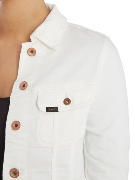 Lee Slim rider denim jacket in off white
