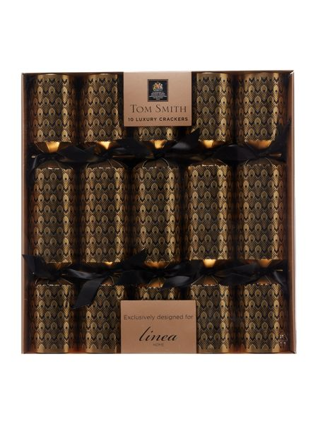 Linea Pack of 10 Black & Gold peacock crackers