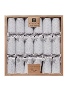 Linea Set of 6 Silver glitter deco crackers