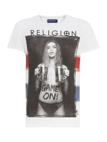 Religion Regular fit game on printed t shirt