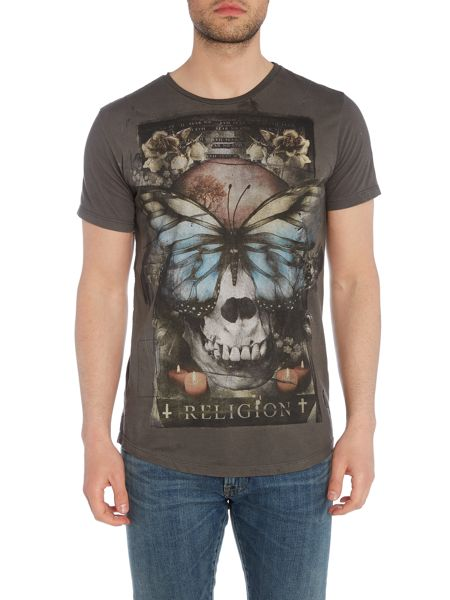 Religion Reclaim regualr fit butterfly skull print t shirt