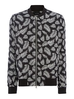 Haw feather print lightweight bomber jacket