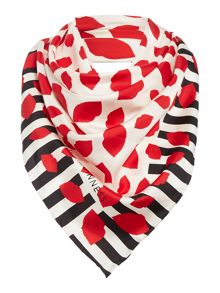 Lulu Guinness Lip print stripe silk square scarf