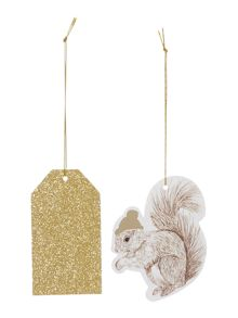 Linea Set of 8 Squirrel & glitter gift tags