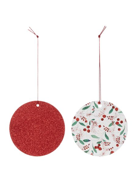 Linea Set of 8 Red Berries & Glitter Gift Tags