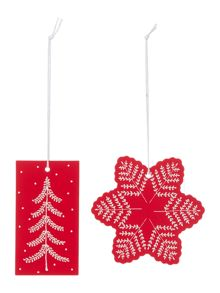 Linea Set of 8 Scandi tree & Snowflake Gift Tags