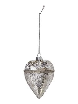 Silver mercury heart glass decoration