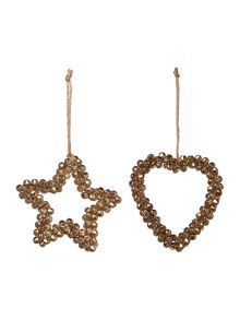 Linea Set of gold bell heart and star decorations