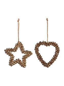 Set of gold bell heart and star decorations