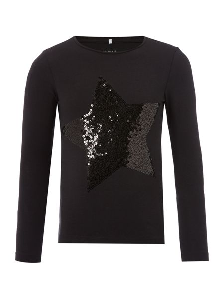 name it Girls Long Sleeved Sparkly Star Top
