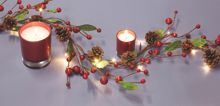 Linea Red berry & Pinecone light up garland