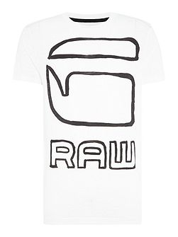 Dromec regular fit outline logo print t shirt