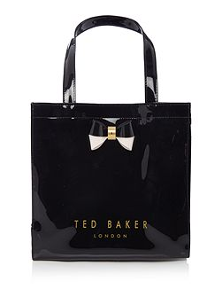 Minacon black small bow tote bag