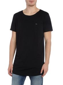 Diesel Regular fit longline pocket logo t shirt