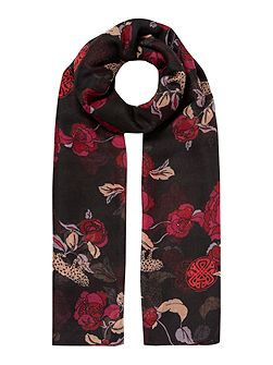 Leopard and Flower Poly Oversized Scarf