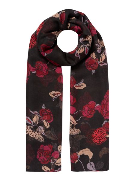 Biba Leopard and Flower Poly Oversized Scarf