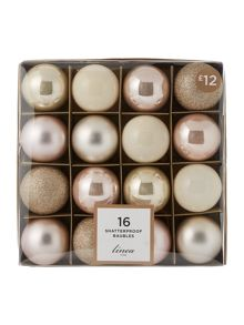 Linea Set of 16 Blush & Champagne shatterproof baubles