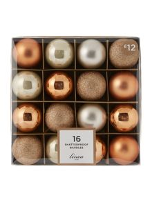 Linea Set of 16 Gold & Bronze shatterproof baubles