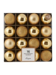 Linea Set of 16 Gold shatterproof baubles
